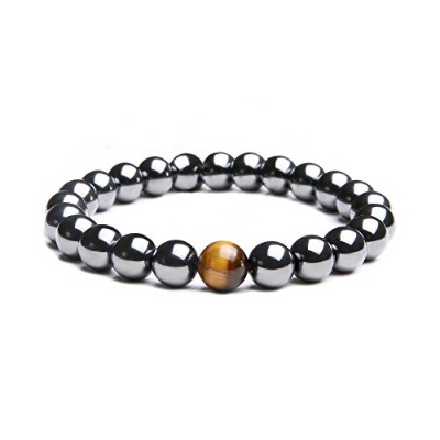 メンズブレスレット( 8 mm ) Natural Hematite and Tiger Eye Stone Beads