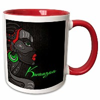 Doreen Erhardt Kwanzaa–Kwanzaa inブラックレッドandグリーンwith African American Woman–マグカップ 11-oz Two-Tone...