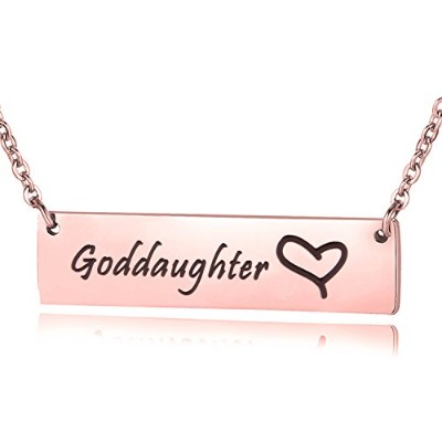 ensianth GodmotherネックレスGoddaughterネックレス手刻印バーネックレスギフトfor Her