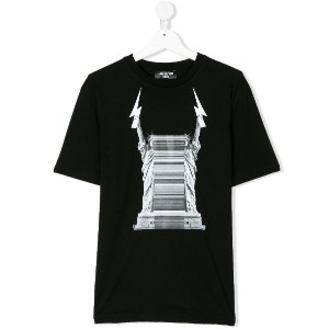 Neil Barrett Kids liberty print T-shirt - ブラック