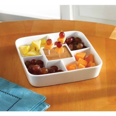 Foodサーバー表示プレート–マルチSectionalコンパートメントServing Tray–ホワイトセラミック正方形Appetizer、スナックServing Tray...