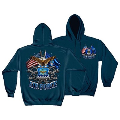Erazor Bits MM2150SWL United States Air Force Double Flag Eagle Hooded Sweat T-Shirt - Large