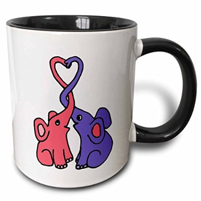 3dRose Cute Blue and Pink Elephants with Trunks Intertwined and Heart, Two Tone Black Mug, 330ml