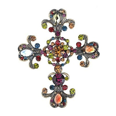 Alilang Brass Tone Multi Rhinestones Antique Colorful Holy Cross Brooch Pin