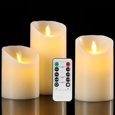 Flameless Candles電池式ピラーRealワックスちらつきMoving Wick Electric LEDキャンドルギフトセットwithリモートコントロールサイクリング24時間タイマーby...