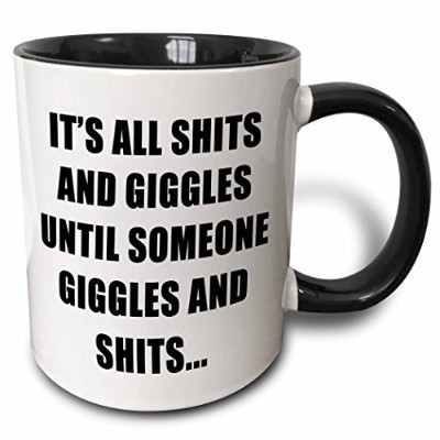 EvaDane–引用–Its All Shits And GigglesまでSomeone Giggles And Shitsブラック–マグカップ 11-oz Two-Tone...