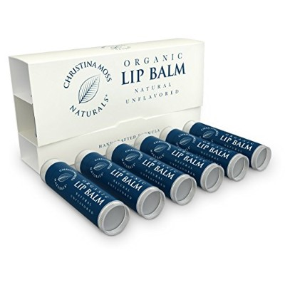 Lip Balm, Lip Care Therapy, Moisturizer Butter. Organic, 100% Natural Ingredients. Repair, Condition, Dry, Chapped, Cracked Lips. Made in the USA. Christina Moss Naturals (6 Pack, Natural Unflavored). by Christina Moss Naturals
