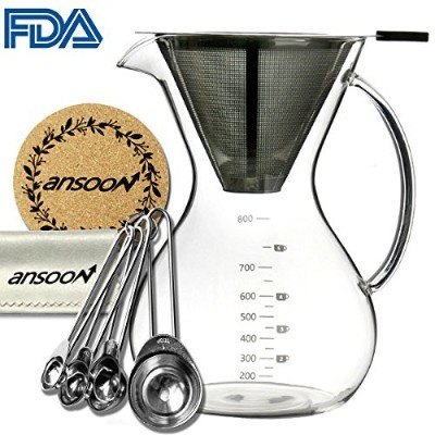 Ansoon Pour Over Coffee Maker, Pour Over Coffer Dripper and Coffee Scoop Set, Coffee Glass Filter...