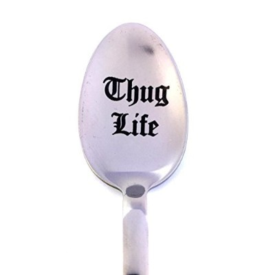 (Thug Life) - Thug Life-Engraved Spoon by Weenca-Stainless Steel Spoon from Italy-Cool Gifts