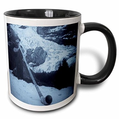(330ml Two-Tone Black Mug) - 3dRose mug_8504_4 Vintage Swiss Man Blowing a Giant Alpine Horn...
