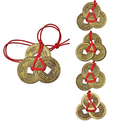 Pangda 5 Sets Chinese Coins Fortune Coin Feng Shui Coins Lucky Coins I-ching Coins with Red String