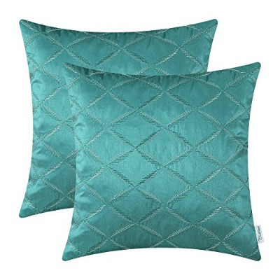 (46cm X 46cm , Diamonds - Teal) - Pack of 2 CaliTime Cushion Covers Throw Pillow Cases Shells for...