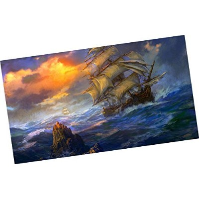 wowdecorペイントby Numbersキットfor大人子供、数Painting – Pirate Ship 16 X 20インチ Framed