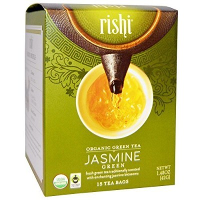 Rishi Tea Organic Green Tea Jasmine -- 15 Tea Bags (Pack of 2) by Rishi Tea