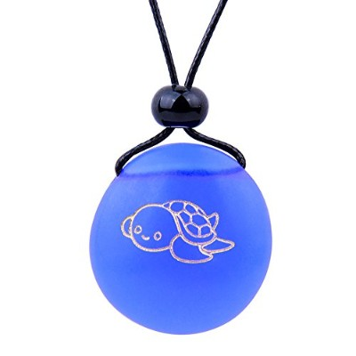 BestAmulets Amulet Frosted海ガラスストーンAdorable Lucky Baby Turtle Good Luck Powersロイヤルブルー調節可能なネックレス