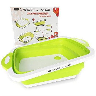 Chopwash by Mキッチン世界Collapsible Dish Tub |カッティングボード| Chopping & Slicing |洗濯ボウルwith ownプラグfor排水...