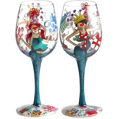 Bottom's Up 15-Ounce Happy Birthday Handpainted Wine Glass
