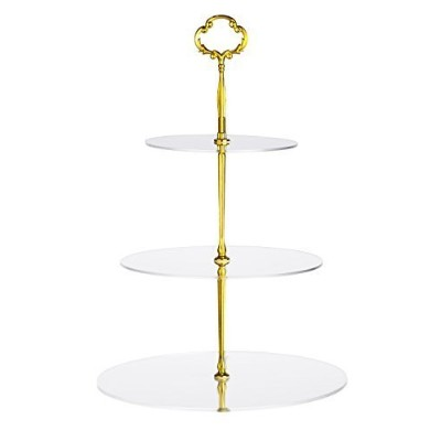 Utenlid Acrylic 3-Tier Round Stacked Party Cupcake Stand with Stable Screw-On Gold Pillars - Tiered...