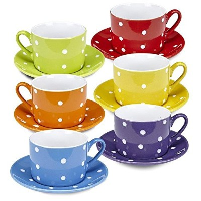 Klikel Coffee Mug And Saucer Set - 12 Piece Porcelain Dinnerware - Solid Colours With White Polka...
