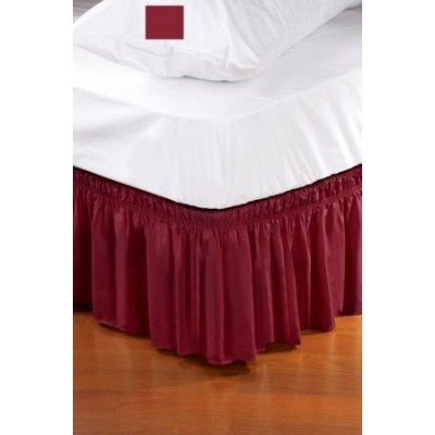 (Twin/Full, Burgundy) - Wrap Around Style Easy Fit Elastic Bed Ruffles for Twin and Full Size Beds,...