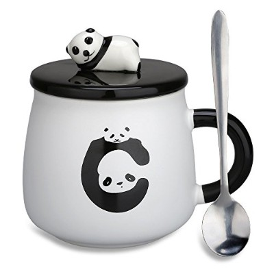 (Panda-1) - Lovely Cute 3D Panda Ceramic Coffee Mug Milk Tea Cup with Funny Lid and Stainless Steel...