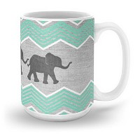 society63つ象–Teal andホワイトシェブロンonグレーマグ 15 oz s6-2200962p30a27v200