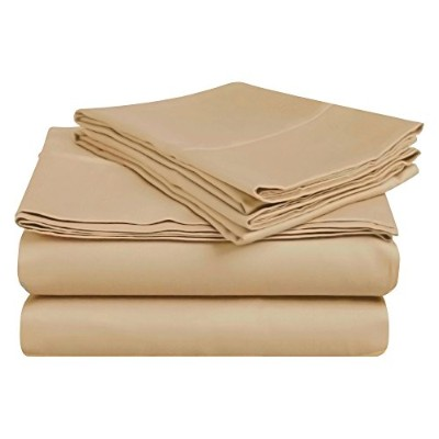 (King, Tan) - Superior 100% Premium Long-Staple Combed Cotton 400 Thread Count Deep-Fitting Pocket...