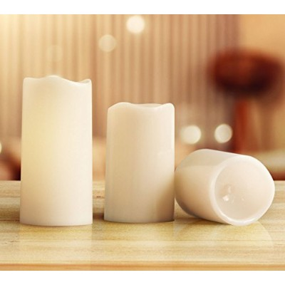 (White) - KMSdeco Outdoor Indoor LED Candles Waterproof Battery Operated candles with Timer -...