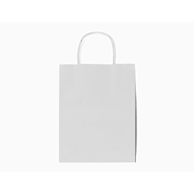 25 White Medium Kraft Paper Bags With Handles Tags And Strings Premium Quality Gift