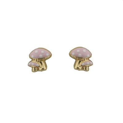 18KイエローゴールドピンクマッシュルームEarring with Covered Screwbacks ( 7mm )