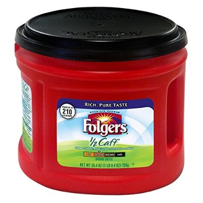 Folgers 1/2 Caff Ground Coffee, 25.4 oz by Folgers