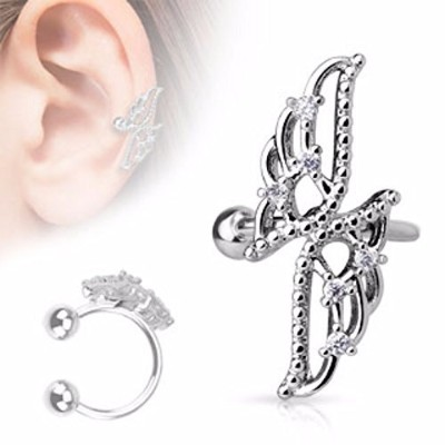 Crossed Wings with CZs non-piercing wildklass Ear Cuff