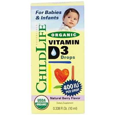 Child Life Organic Vitamin D3 Liquid, Natural Berry, .338 Fluid Ounce (2) by Childlife