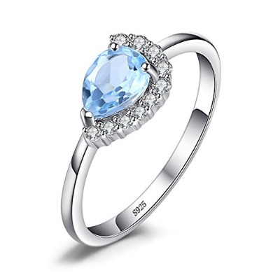jewelrypalace 2.5CT Pear Shape Genuine Skyブルートパーズリング926スターリングシルバー