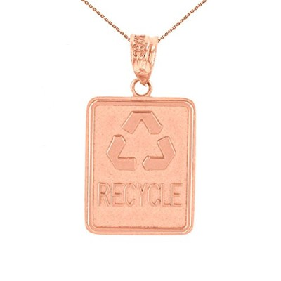 14KローズゴールドリサイクルEco Friendly Waste Signシンボルネックレス