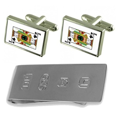 Club Playing Card King Cufflinks & James Bondお金クリップ
