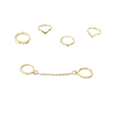 BジュエリーコレクションDaily Stacking Rings Set of 5リング、ゴールデン