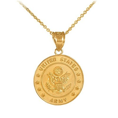 10Kゴールドmedal-styleチャームUS Army Coin Militaryペンダントネックレス ゴールド