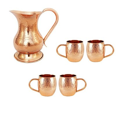 Alchemade銅バレルMug for Moscowミュール–16oz–100% Pure Hammered Copper–Heavy Gauge