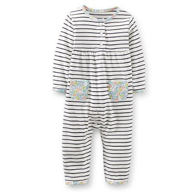 Carters Girls 3-9 Months Striped Floral Jumpsuit (24 Months) by Carter's