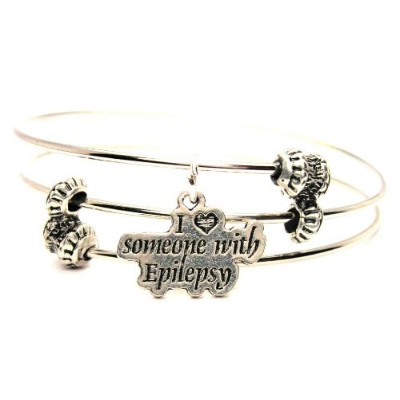 """ChubbyChicoCharms I Love Someone With Epilepsy Expandable Wire Tripleスタイルバングルブレスレット、2.5"""""""