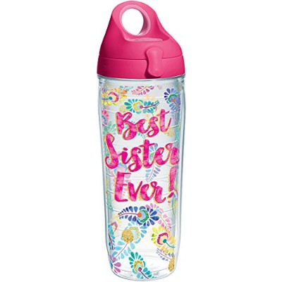 Tervis 1244733Best Sister Ever Tumbler with Wrap and Passionピンク蓋24oz水ボトル、クリア