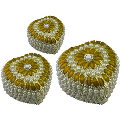 (Yellow) - Set of 3 -Jewellery Box Yellow -Handmade Heart Shape Metal, Beaded Decorative Box for...