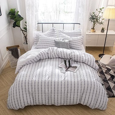 (Full/Queen, Grey) - Merryfeel Seersucker 100% cotton yarn dyed Duvet Cover Set - Full/Queen Grey