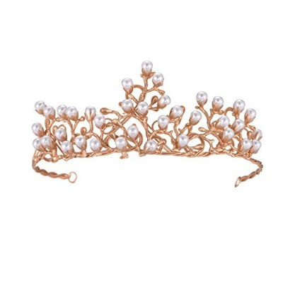 FFゴールドティアラand Crowns for Women with真珠ブライダルヘアアクセサリー