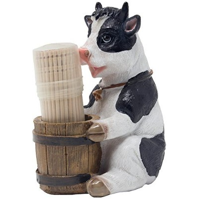 Decorative Holstein Cow Toothpick Holder Set Figurine with Wood Toothpicks and Old Fashioned Water...