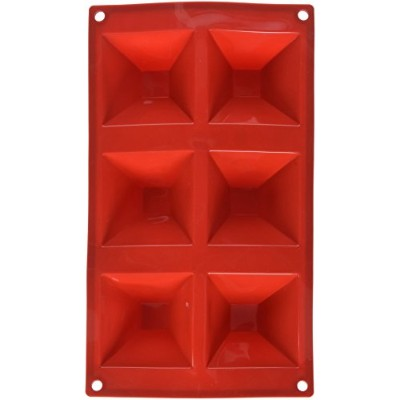 Excellante 6 Cavities Pyramid High Heat Silicone Baking Mould, 90ml, Red
