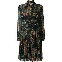 Alberta Ferretti tie neck long sleeve dress - ブラック