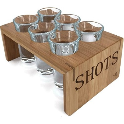 Vintage Bamboo Shot Glass Holder With 6 Crystal Clear Shot Glasses 30ml By Trendy Bartender...