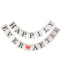 Pixnor HAPPILY EVER AFTER用紙Buntingウェディングパーティー装飾写真プロップ